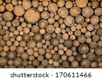 Big Wall Of Stacked Wood Logs...