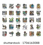 set of education thin line and... | Shutterstock .eps vector #1706163088