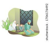 muslim families are praying in... | Shutterstock .eps vector #1706176492