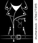 biker leather jacket print for... | Shutterstock .eps vector #1706177395
