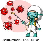 people in protective suit or... | Shutterstock .eps vector #1706181205
