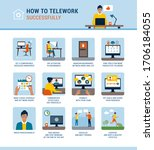 how to work from home... | Shutterstock .eps vector #1706184055