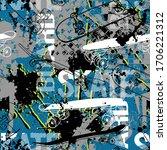 skateboard pattern. seamless... | Shutterstock .eps vector #1706221312