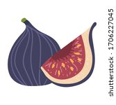 whole figs with half isolated... | Shutterstock .eps vector #1706227045