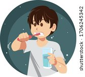 young man brushing his teeth in ... | Shutterstock .eps vector #1706245342