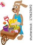 bunny with wheelbarrow   cute... | Shutterstock .eps vector #170625692