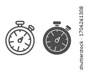 stopwatch line and solid icon....   Shutterstock .eps vector #1706261308