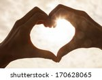 Hand Heart Shape Silhouette...
