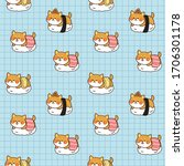 seamless pattern shiba inu... | Shutterstock .eps vector #1706301178