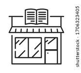 bookstore black line icon. a...