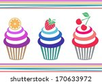 3,against,background,baked,baking,blue,butter,cake,cherry,cream,cupcake,dessert,diet,eating,food
