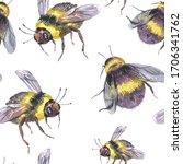 watercolor bee seamless pattern.... | Shutterstock . vector #1706341762