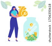 girl girl holds coins. savings... | Shutterstock .eps vector #1706350618