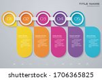 5 steps simple editable process ... | Shutterstock .eps vector #1706365825