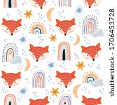 kids seamless pattern with cute ... | Shutterstock .eps vector #1706453728