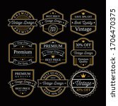 set of retro vintage badge and... | Shutterstock . vector #1706470375