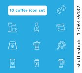 coffee icon set outline...
