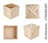 Set Of New Wooden Crates On...