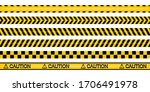 yellow and black police tape... | Shutterstock .eps vector #1706491978