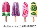 set of watercolor ice cream on... | Shutterstock . vector #1706504062
