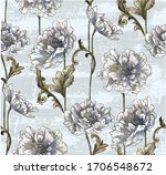 pattern with peony bouquet with ... | Shutterstock .eps vector #1706548672