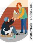 A Volunteer Gives A Beggar A...