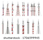 broadcast technology tower.... | Shutterstock .eps vector #1706599945