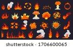 Cartoon Fire Explosions. Fire...