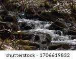 Close up of a bubbling, babbling brook flowing swiftly with small waterfalls tumbling over rocks