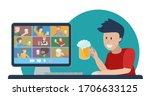 concept of online party with... | Shutterstock .eps vector #1706633125