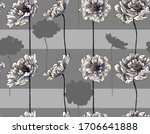 pattern with peony flowers and... | Shutterstock .eps vector #1706641888