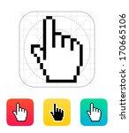 pixel hand cursor icon. vector...
