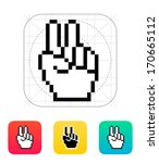 pixel victory hand icon. vector ...