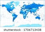 world map   political   blue... | Shutterstock .eps vector #1706713438