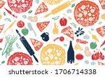 pizza pattern. vector...   Shutterstock .eps vector #1706714338