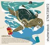 ocean polution. sea turtle... | Shutterstock .eps vector #1706720872