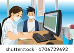 doctor and patient wearing mask.... | Shutterstock .eps vector #1706729692