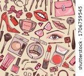 cosmetics for makeup seamless... | Shutterstock .eps vector #1706759545