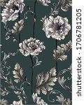 pattern with baroque swirls... | Shutterstock .eps vector #1706781205
