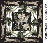 vintage palm leaves floral ... | Shutterstock .eps vector #1706802145