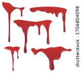 blood drip set. drop blood... | Shutterstock .eps vector #1706804098