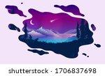 dreaming night landscape  ...   Shutterstock .eps vector #1706837698