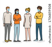 group of people wearing face... | Shutterstock .eps vector #1706859508