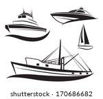 vector black ship and boat... | Shutterstock .eps vector #170686682