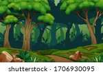 deep forest scene with trail in ... | Shutterstock .eps vector #1706930095