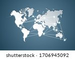 world map white colour with... | Shutterstock . vector #1706945092