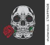 skull rose illustration with... | Shutterstock .eps vector #1706999608
