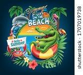 summer illustration with... | Shutterstock .eps vector #1707019738
