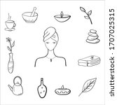 spa hand drawn doodle icons.spa ...   Shutterstock .eps vector #1707025315