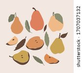 pear icons set with leaves....   Shutterstock .eps vector #1707037132
